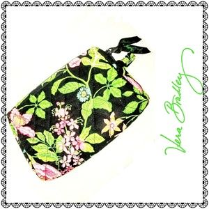 {Vera Bradley} black/green floral cosmetic bag